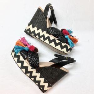 KATE SPADE Delancey Wedge Sandal Platform Tassel